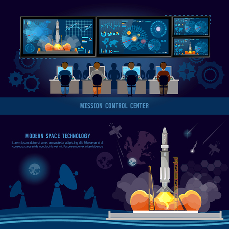 Centro de Control de la Misión, arranque el cohete en el espacio. Lanzadera espacial despegando en misión, futuro espaciopuerto. Tecnologías espaciales modernas, informe de retorno del comienzo del cohete Foto de archivo - 72208937