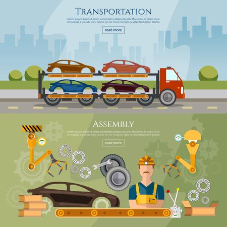 automotive industry: Car assembly line banner, conveyor belt operator automotive industry, ?ar transport truck vector illustration
