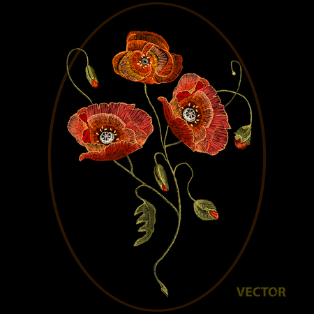 Embroidery poppy flowers, beautiful poppy decorative floral embroidery, black background, vector Illustration