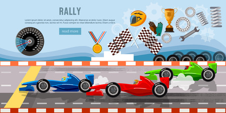 자동차 경주 배너입니다. 경주 회로 결승선에 타이어 드리프트. 모터가 출발 선에 자동차 경주, 공식 자동차 과속