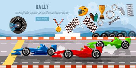 Car racing banner. Tyre drift on race circuit finish line. Motor racing cars on a start line, formula car speeding