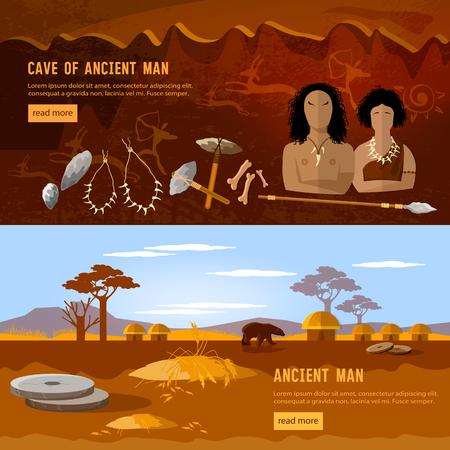 Uomo della grotta e bandiera della donna della grotta. Età della pietra, famiglia neandertaliana in una grotta, strumento preistorico. Neolitico, paleolitico, mesolitico, inizio di una civiltà. Caveman art Vettoriali