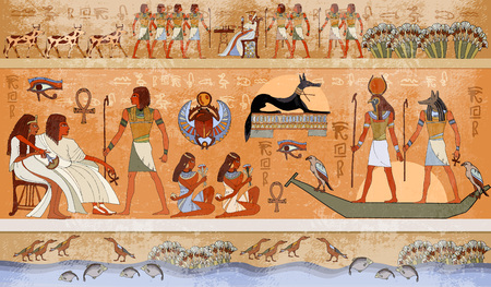 Ancient Egypt scene, mythology. Egyptian gods and pharaohs. Hieroglyphic carvings on the exterior walls of an ancient temple Illustration