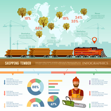felling: Logging industry infographic.  World trade by wood. Deforestation, preparation of firewood, power-saw bench, transportation of logs by train Illustration