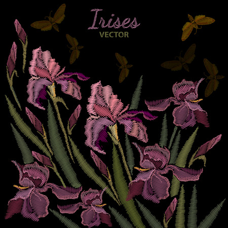 Embroidery irises. Beautiful spring purple irises against black background, embroidery template