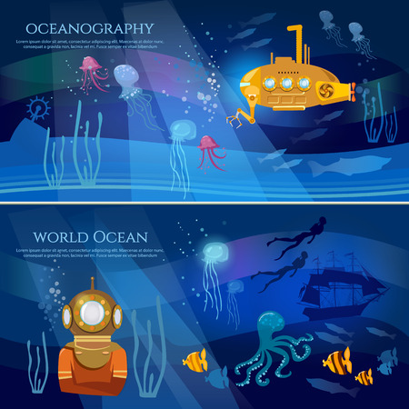 Yellow submarine underwater with periscope. Sea exploration banner. Oceanography concept scientific research of sea and ocean Illustration