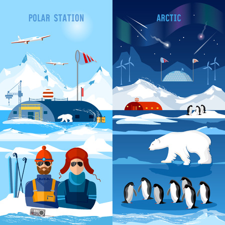 Travel to Antarctica banners. Scientific station on North Pole.  Arctic and Antarctic tourism. Fauna of Antarctic, polar bear, penguins