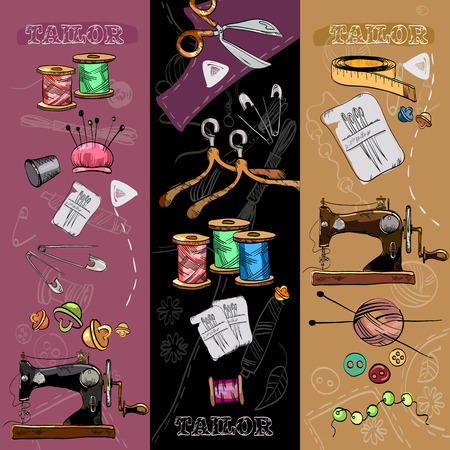 tailored: Tailor banners tailoring tools seamstress fashion designer needlework hand drawn vector Illustration