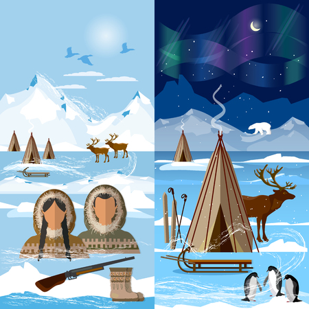 Life in the far north. Wild north arctic people in traditional eskimos costume and arctic animals. Reindeer, polar day and polar night. Extreme journey to Alaska