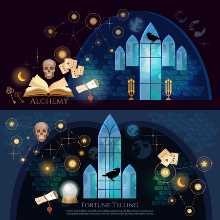 diabolic: Fortune telling banner. Medieval alchemy, mysticism, occultism, esotericism.  Vintage key, magic objects and scrolls, alchemy concept. Medieval castle of wizard Illustration