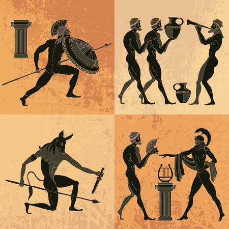 Ancient Greek mythology set. Ancient Greece scene. Black figure pottery. Classical Ancient Greek style. Minotaur, gods, hero