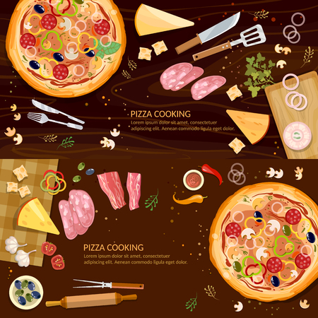 Pizza on a wooden table banner, making pizza, fresh ingredients for pizza Illustration