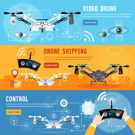 shadowing: Drone for delivery, shadowing and entertainments modern technologies. Drone flat banner, modern drone and remote control for the quadrocopter,  carrying cardboard box Illustration