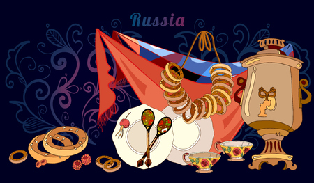 country kitchen: Welcome to Russia banner. Traditional Russian cuisine and culture elements hand drawn vector