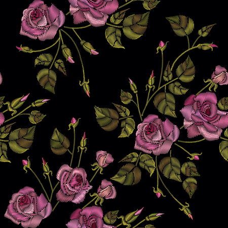 Roses embroidery seamless pattern on a black background. Classic style embroidery, beautiful roses flowers pattern vector