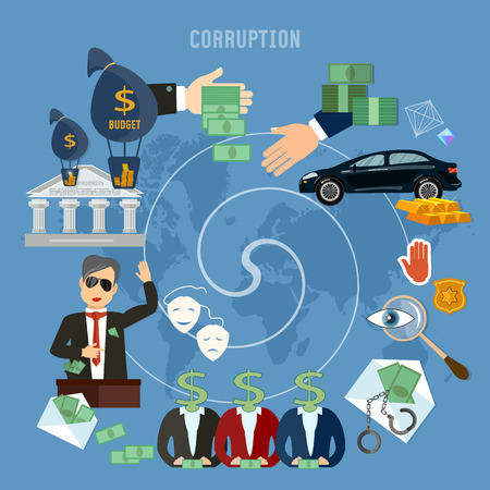 Corruption concept. Theft of public money. Deceitful politician campaign promises bribes. Anti-corruption fight stealing money from budget