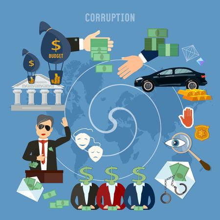 Concepto de corrupción Robo de dinero público. La campaña política engañosa promete sobornos. Lucha anticorrupción robando dinero del presupuesto