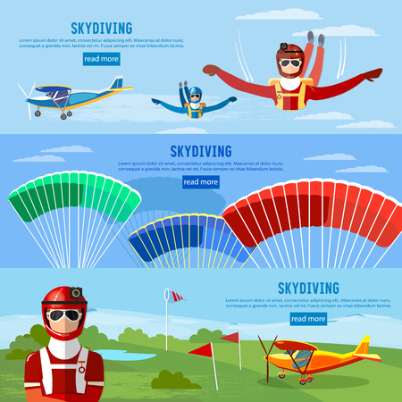 free diver: Skydivers are falling above the cloud, teamwork banner extreme sport. Skydiver jumps from an airplane vector
