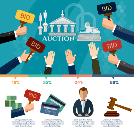 bidding: Auction and bidding infographics, antiques art object culture, auction bidding concept vector Illustration