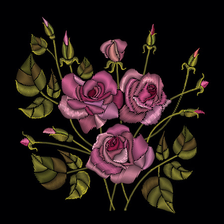 Roses embroidery on a black background. Classic style embroidery, beautiful roses flowers pattern
