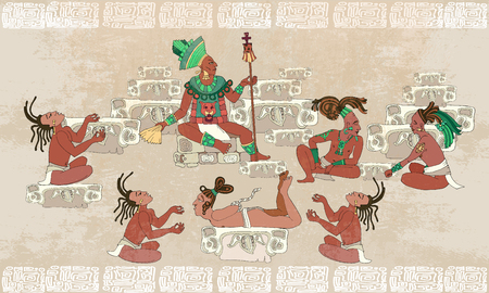 ancient civilization: Ancient Maya, Aztec Inca. Traditional Mayan frescoes. Sacrifices scene. Ancient Maya in traditional suits. Murals ancient Mayan art Illustration