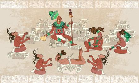 civilization: Ancient Maya, Aztec Inca. Traditional Mayan frescoes. Sacrifices scene. Ancient Maya in traditional suits. Murals ancient Mayan art Illustration