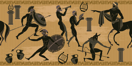 Ancient Greece scene seamless pattern. Black figure pottery. Ancient Greek mythology. Centaur, people, gods of an Olympus. Classical Ancient Greek style seamless background Vettoriali