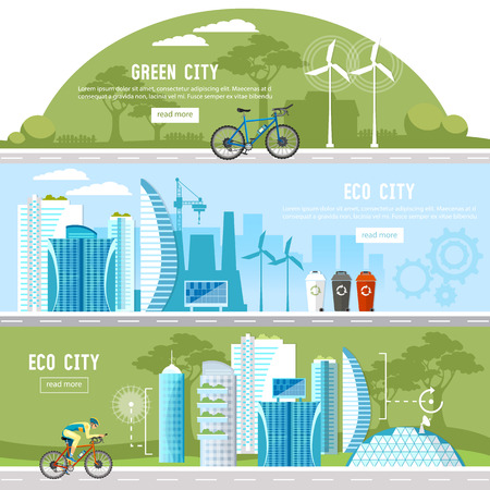Green city banner. Harmony of city and nature design template. Eco city background urban landscape. Future energy, solar panels, windmills