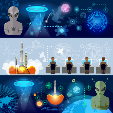 ufology: UFO banner, kidnapping aliens in space. First contact with aliens, secret files of communication with extraterrestrial civilizations