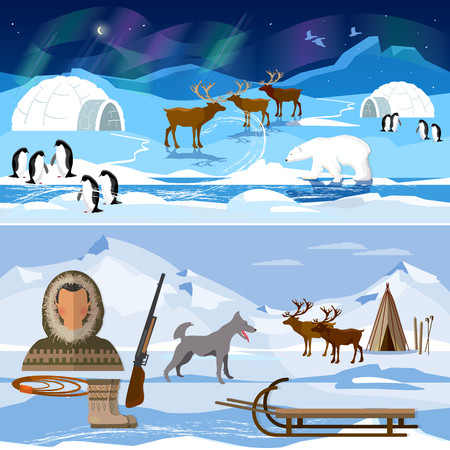 Extreme journey to Alaska. Life in the far north. Wild north arctic pople in traditional eskimos costume and arctic animals Vettoriali