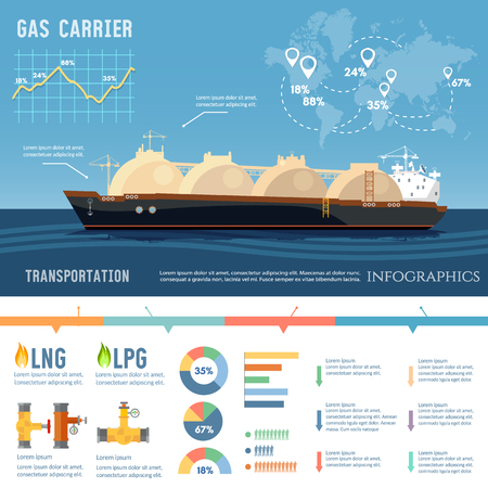 Carrier ship LNG transportation by sea. Oil and gas industry infographics. LNG tanker, natural gas Illustration