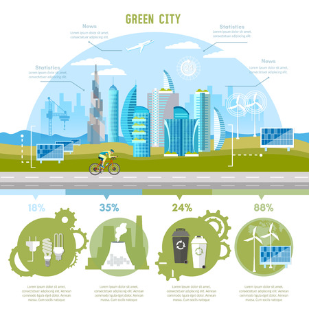 Green city infographic. Eco city background urban landscape. Future energy, solar panels, windmills. Harmony of city and nature design template