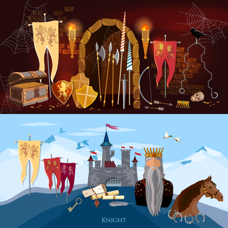 chest wall: Medieval banners, old king, joust, knight, medieval castle. Medieval dungeon, ancient treasure chest, abandoned building interior, castle door Illustration