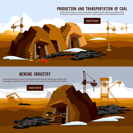 Excavator working on open pit coal mine banner. Process of coal mining, bulldozers, conveyor cartoon Illustration