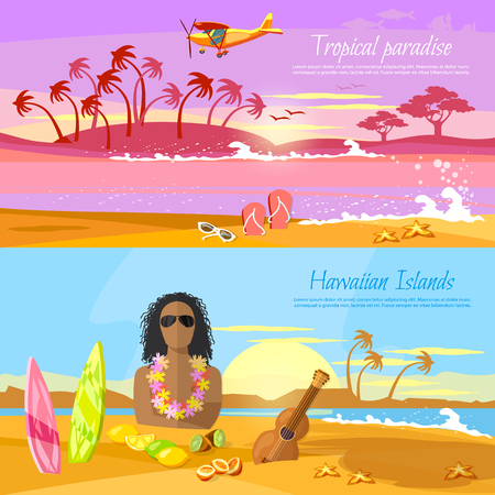 tahitian: Travel in summer. Tropical beach banner, paradise island for rest. Travel to Hawaii, Tahiti. Surfer on beautiful beach. Perfect tropical paradise
