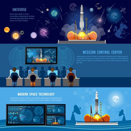 Mission Control Center, Rakete im Weltraum starten. Moderne Weltraumtechnologien, berichten vom Start der Rakete. Raumfähre startet auf Mission, zukünftiger Weltraumbahnhof Standard-Bild - 74861445