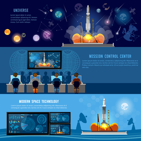 Mission Control Center, start rocket in space. Modern space technologies, return report of start of rocket. Space shuttle taking off on mission, future spaceport Banco de Imagens - 74861445