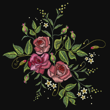 spring summer: Roses embroidery on a black background. Classic style embroidery, beautiful roses flowers pattern vector
