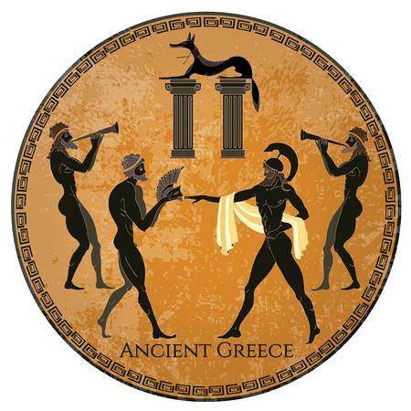 Scène de la Grèce antique. Poterie de chiffre noir. Style classique grec ancien