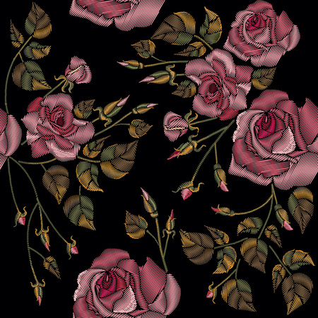 Roses embroidery seamless pattern on a black background. Classic style embroidery, beautiful roses flowers hand drawn pattern vector
