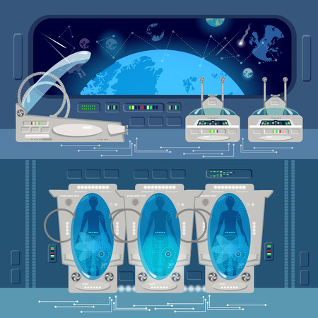 stasis: Astronauts in cryogenic cameras, deep space interior of interstellar ship. Space travel to other planets banner. Technologies of future, colonization of Universe