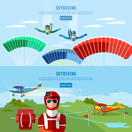 skydiver: Skydiver jumps from an airplane vector. Skydivers are falling above the cloud, teamwork banner extreme sport Illustration