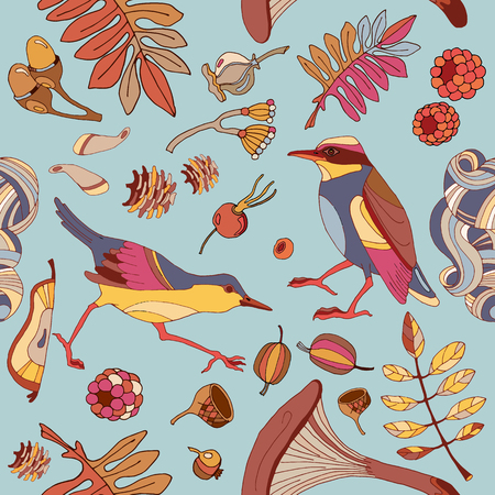 Birds in autumn forest seamless pattern cute wild forest autumn leaves mushroom acorns fabric birds pattern design textile birds hand drawn fall background