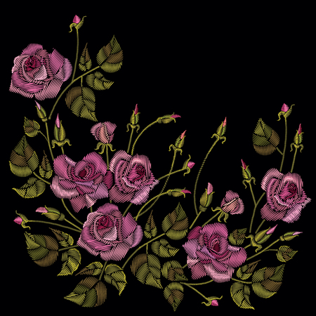 Roses embroidery on a black background. Classic style embroidery, beautiful roses flowers pattern vector