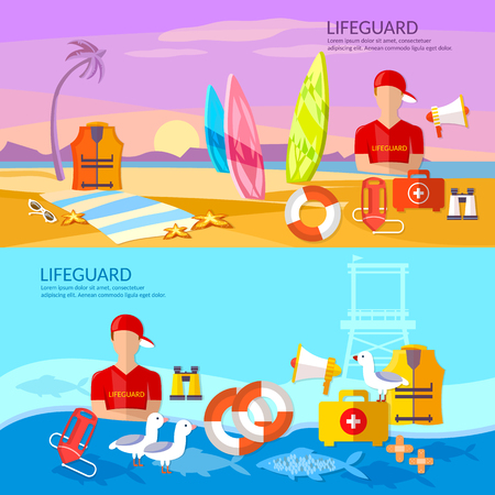 Lifeguards banners work of a professional lifeguard on the beach vector