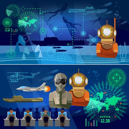 近代的な軍隊のバナー。軍の航空機、潜水艦、ヘリコプター、ロケット、軍事ダイバー。超大国間の対立