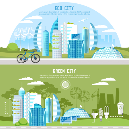 Eco city background urban landscape. Future energy, solar panels, windmills. Green city banner. Harmony of city and nature design template