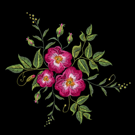 Embroidery wild rose, dogrose flowers. Classic style embroidery, beautiful dogrose vector.