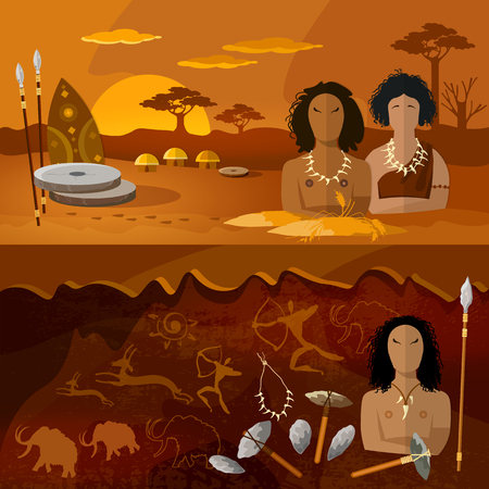 Stone age, neanderthal family in a cave, prehistoric tool. Neolithic, paleolith, mesolith, beginning of a civilization. Caveman art. Cave man and cave woman banner.