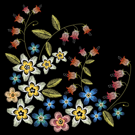 Beautiful camomiles, cornflowers, classical embroidery on black background, fashionable template for design of clothes. Embroidery flowers concept.
